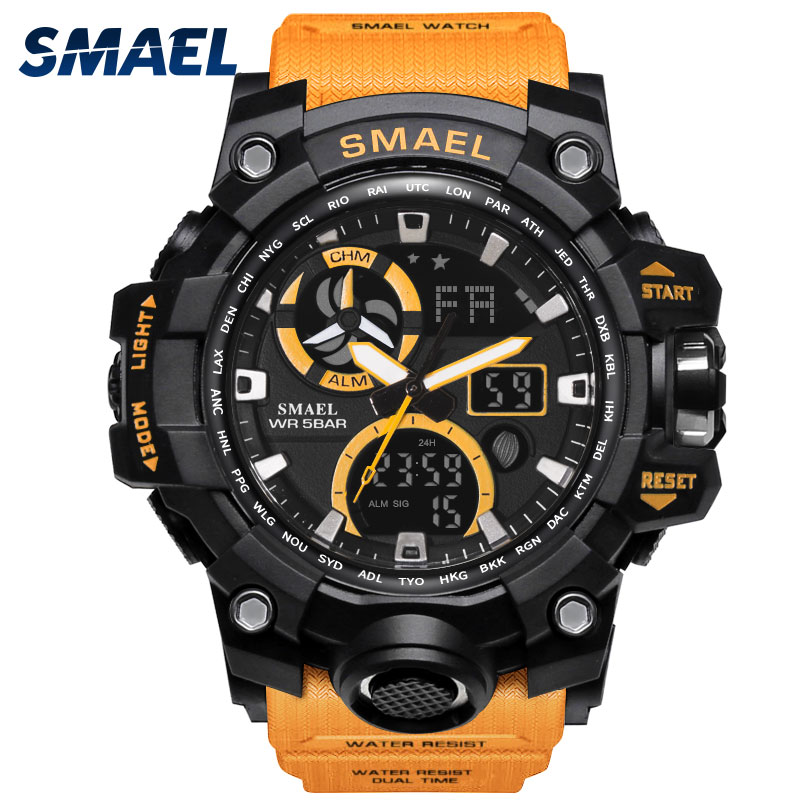 Military Watch Waterproof 50M SMAEL Army Watch S Shock Automatic relogio LED Men Watches Leather 1545C Men Sport Watches Digital