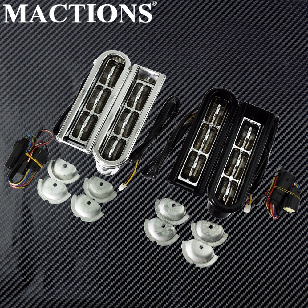 Motorcycle LED Inserts Saddlebag Filler Support Taillight Running Light For Harley Touring Electra Glide Road King CVO 2014-2020