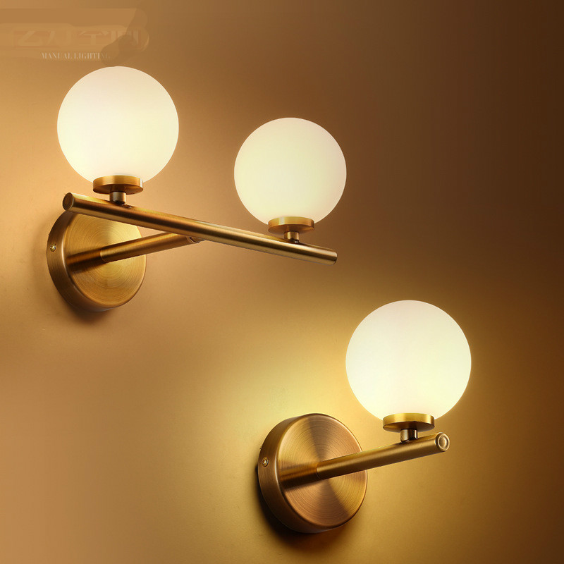 Здесь можно купить   High Quality Post-modern Simple Designer Frosted Glass Ball Iron Led G4*1/2/3 Wall Lamp For Living Room Bedroom Bathroom 1184 Свет и освещение