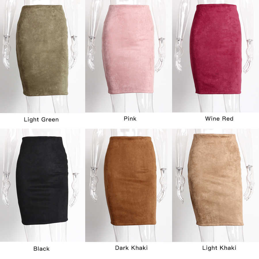 18ba4daf2c ... High Waist Pencil Skirts Women Winter Autumn 2018 New Fashion Slim  Bodycon Skirt Women Casual Suede