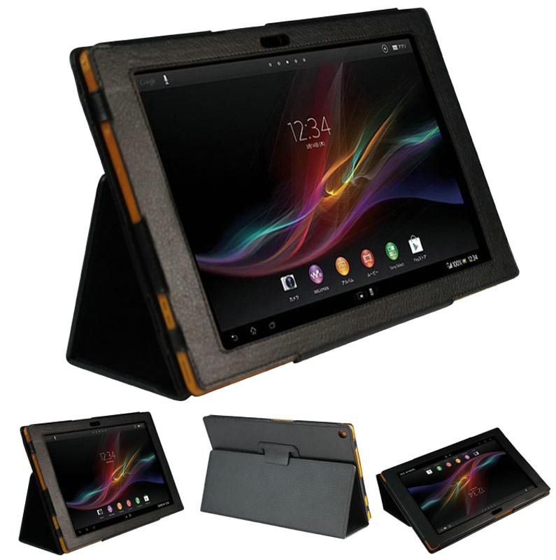 New 2-Folder Luxury Magnetic Folio Stand Leather Case Protective Cover For Sony Xperia Tablet Z SGP311 SGP312 SGP321 10.1