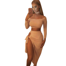 Long Sleeve 2 Piece Women Party Dresses 2017 Fashion Hollow Out Sexy Clubwear Female Irregular Off Shoulder Bodycon Dress Pink