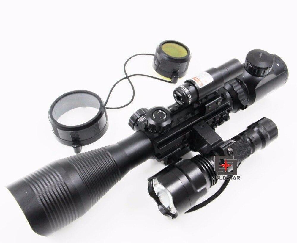 цена на Airsoft Compact Combo C4-12x50EG Rifle Scope w/ Laser Sight & T6 LED Hunting Flashlight C8 Torch Flash Light For Shooting Gun