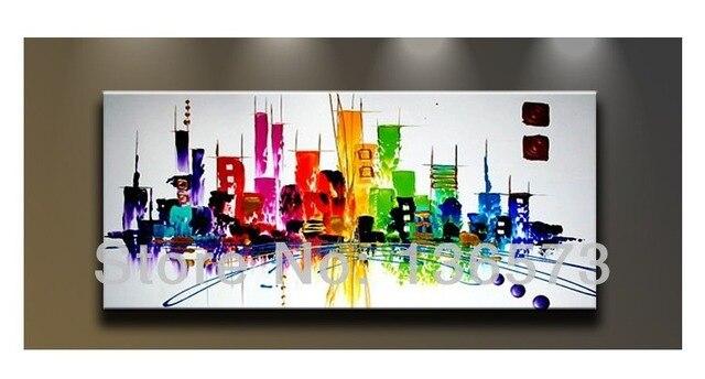 Pintados m o cidade colorida abstrata moderna pintura a for Cuadros rectangulares grandes