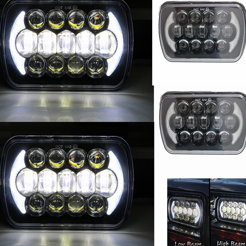 105W 5X7 7X6 inch Rectangular Sealed Beam LED Headlight With DRL LED for H6014 H6052 H6054 H6052 LED Headlight 1 Pair 1 pair 7 inch rectangular led headlight