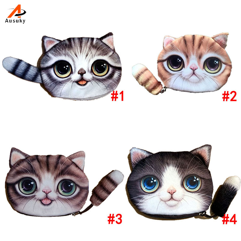 Ausuky  Small Tail Cat Coin Purse Cute Kids Cartoon Wallet Kawaii Bag Coin Pouch Children Purse Holder Women Coin Wallet 40