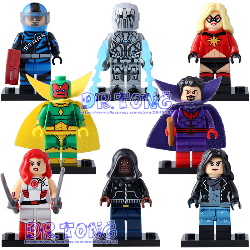 DR.TONG 8PCS/LOT X0173 Super Hero Figure Luke Cage Iron Man Vision Whiplash Jessica Jones Model Building Blocks Set Brick Toys jessica jones volume 1 uncaged