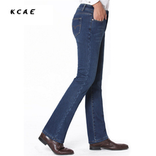 Free Shipping High Quality Men's Spring Autumn Boot cut jeans Male Business Casual Blue Flares Pants Mid Waist Denim Trousers