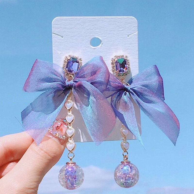 MENGJIQIAO 2019 New Korean Sweet Purple Crystal Yarn Bowknot Heart Long Drop Earrings For Women Fashion Holiday Party Jewelry