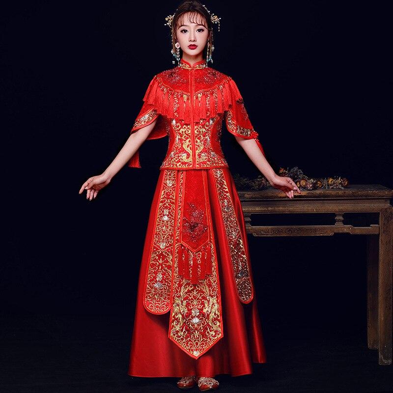 Chinois rouge mariée robe de mariée Phoenix broderie Qipao femmes pleine longueur mandarine col Cheongsam VintageCoat + jupe 2 pièces ensemble