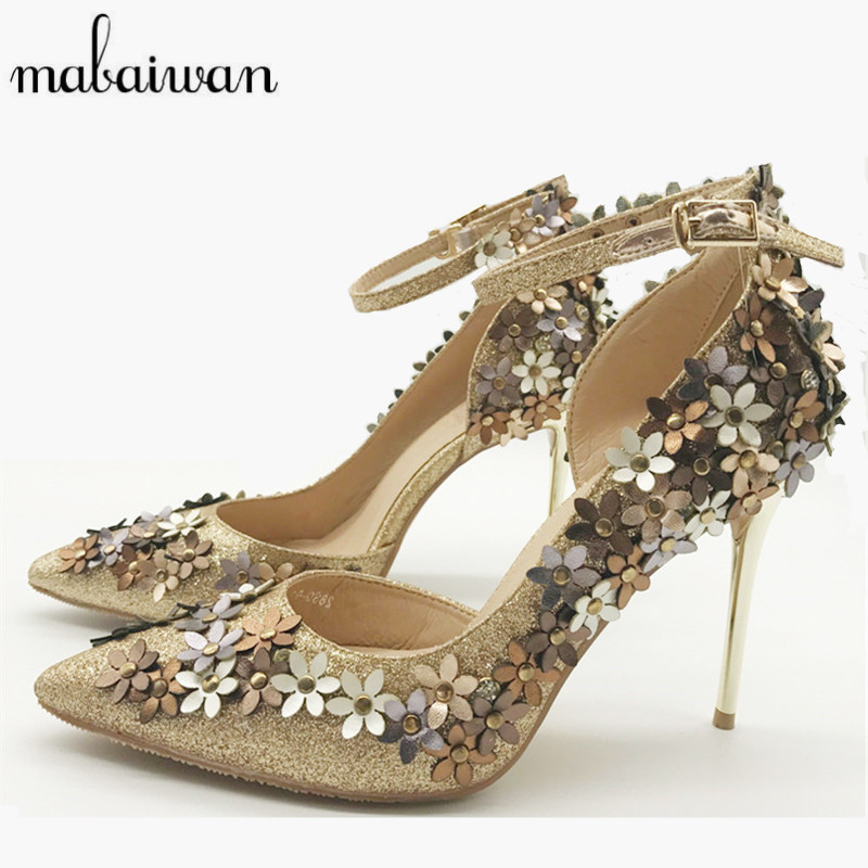 Mabaiwan 2017 New Pointed Toe Women Pumps Flowers Design 10CM High Heels Ladies Ankle Strap Wedding Evening Dress Shoes Woman sexy pointed toe high heels women pumps shoes new spring brand design ladies wedding shoes summer dress pumps size 35 42 302 1pa