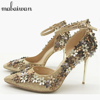 2016 New Hot Pointed Toe Women Pumps Flowers Design 10CM High Heels Ladies Ankle Strap Wedding