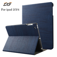 Case For IPad 2 3 4 Wooden PU Leather Case Folio Stand Case Smart With Auto