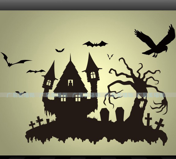 Castle Halloween wall stickers wall decor wall decal window glass  stickers(China (Mainland)