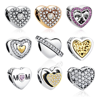 18 Styles 100 Authentic 925 Sterling Silver Heart Shape Charm Beads Fit Pandora Bracelet Pendants DIY