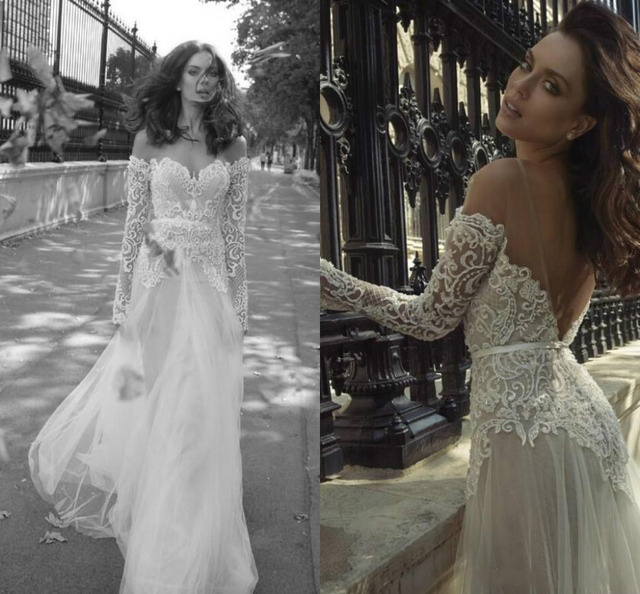 7e37b6b21848 Ester Lace 2016 Arabic Beach Boho Summer Wedding Dresses Off Shoulder  Backless Long Sleeve Ball Gowns A-line Sexy Bridal Dresses