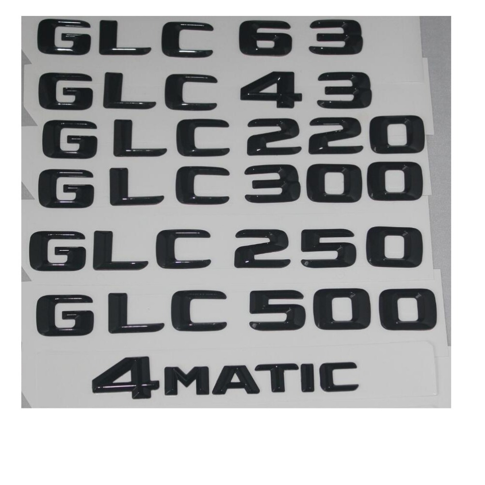 New Style For Mercedes Benz GLC 220 4MATIC Emblems Badge Decoration Gloss Black