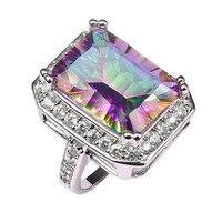 Fabrik preis Riesige Rose Regenbogen Kristall Zirkon 925 Sterling Silber Ring Für Frauen Größe 6 7 8 9 10 11 F1462