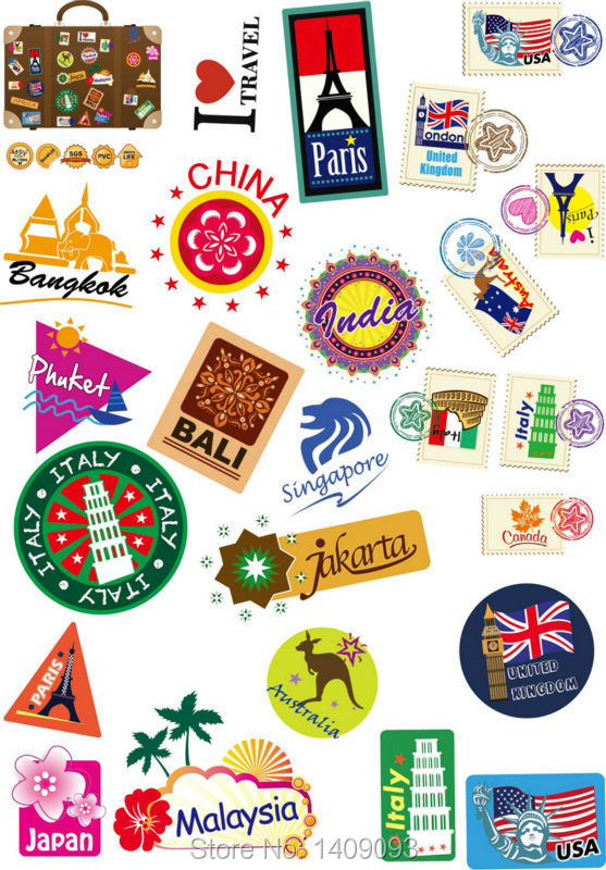 Aliexpress Com Buy Top Fashion Travel Stickers Different