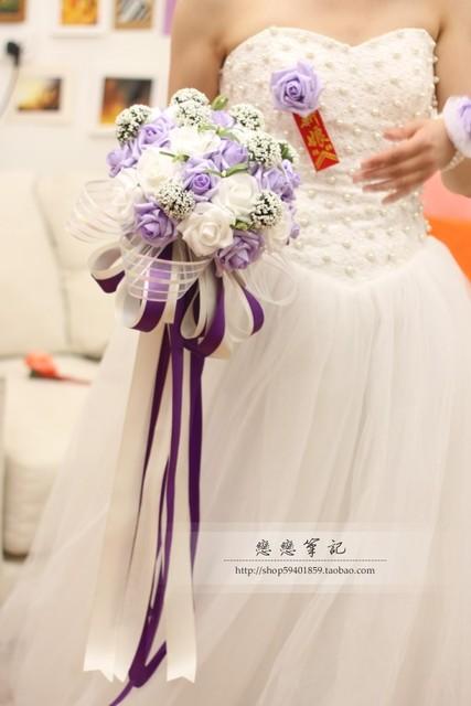 2017 Barato de La Boda/Dama de Honor Ramos Nueva Púrpura y Blanco Marfil Ramo de mariage Nupcial Hecho A Mano Artificial ramo de la boda