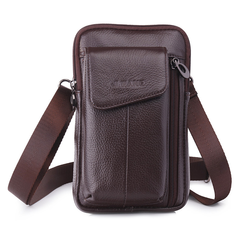 New Men Cell Phone Case Waist Bag Purse Hook Fashion Cross Body Belt Pack Genuine Leather Small Fanny Messenger Shoulder Bags