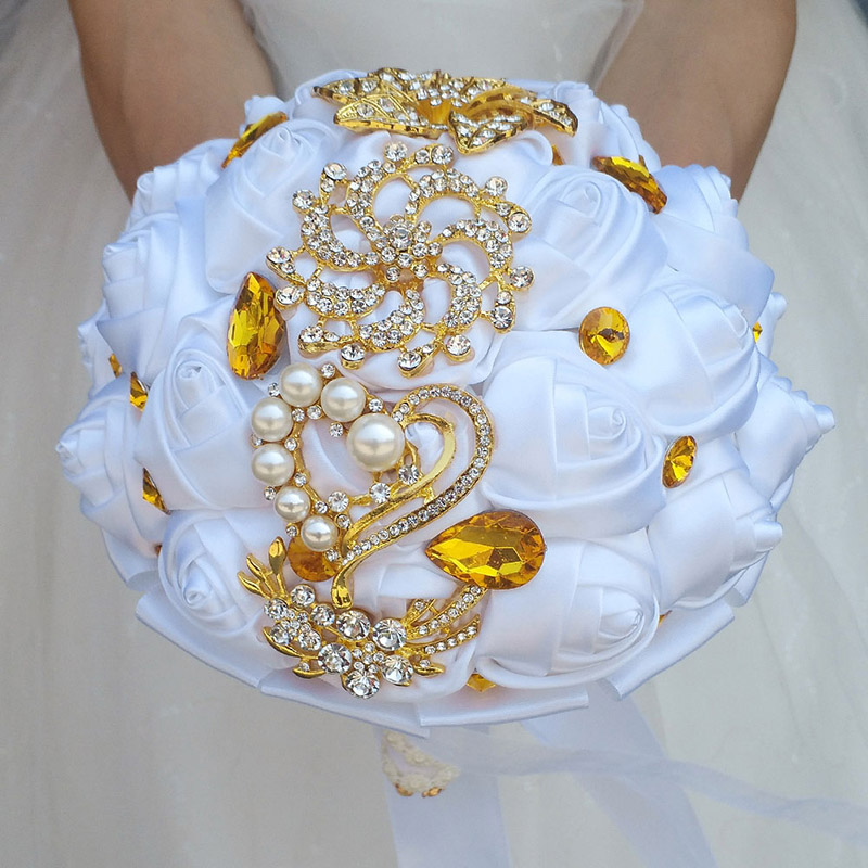 Pure White Gold Brooch Bridal Hand Holding Flower Bouquets Gold