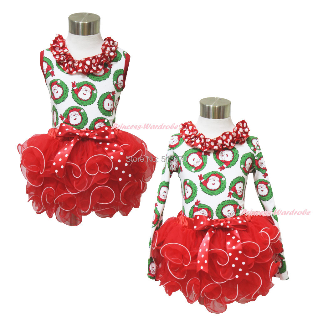 XMAS Red White Dot Ruffle Lacing Santa Claus Top Baby Girl Red Petal Pettiskirt Outfit Set NB-8Y MAPSA0063 my 1st christmas santa claus white top xmas dot waist girls pettiskirt set 1 8y
