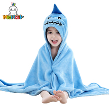 MICHLEY Kids Bath robes Adorable Baby Girl Roupao Hooded Childrens Towel Shark Bathrobes Beach Swimwear Boy Pajamas WEG-BL