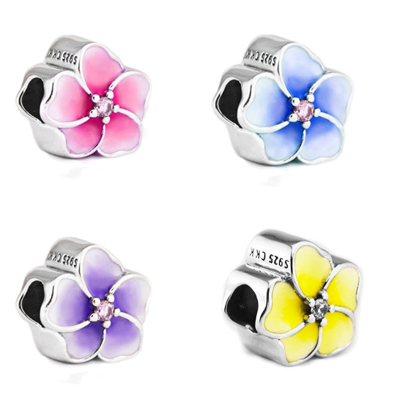4 Colors Real 925 Sterling Silver Floral Beads Fit Pandora Charms Fine Jewelry CKK Original Beads for Jewelry Making CK008
