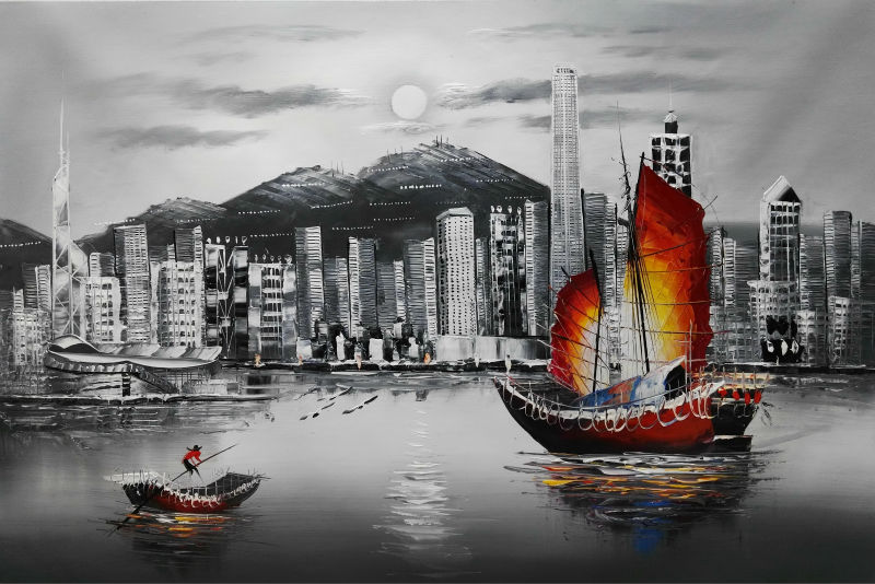 Hand Painted Oil Canvas Painting White And Black Hong Kong