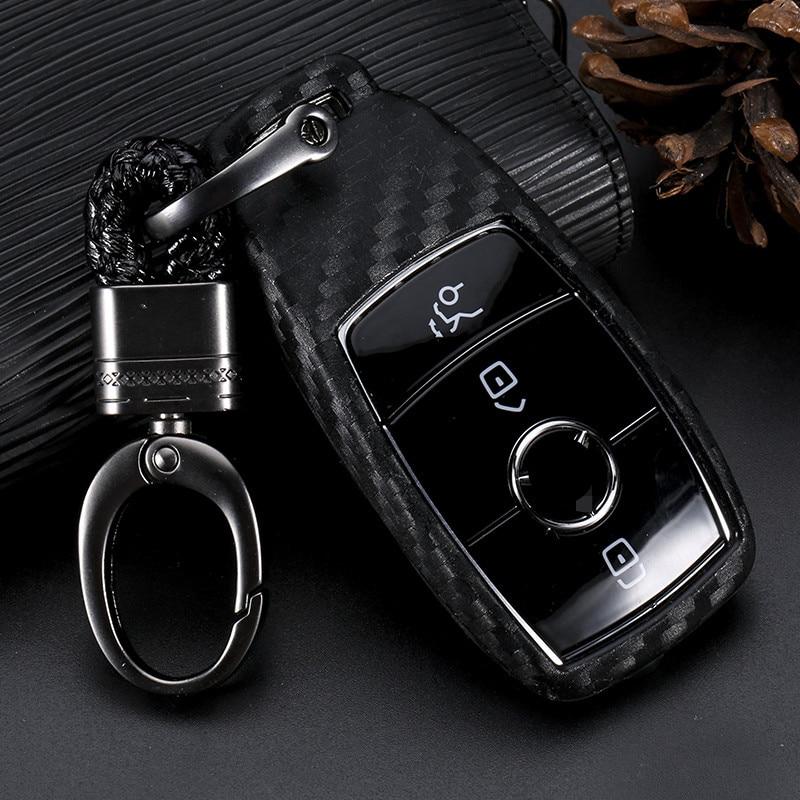 Carbon Fiber Pattern Silicone Cover Case For Mercedes Benz 2017 E Class E43 W213 E300 E400 Sedan keys with Key Chain Accessories|Key Case for Car| |  - title=
