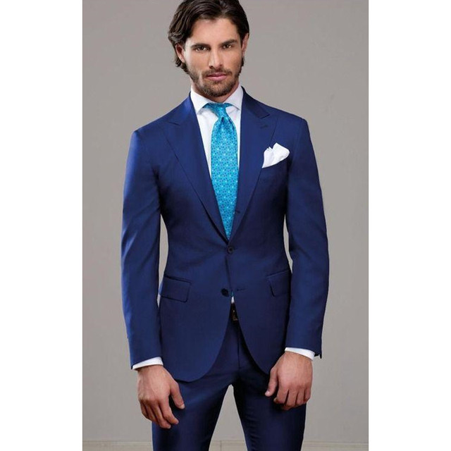 New Men Suits For Wedding Blue Grooms Tuxedos Peaked Lapel Two ...