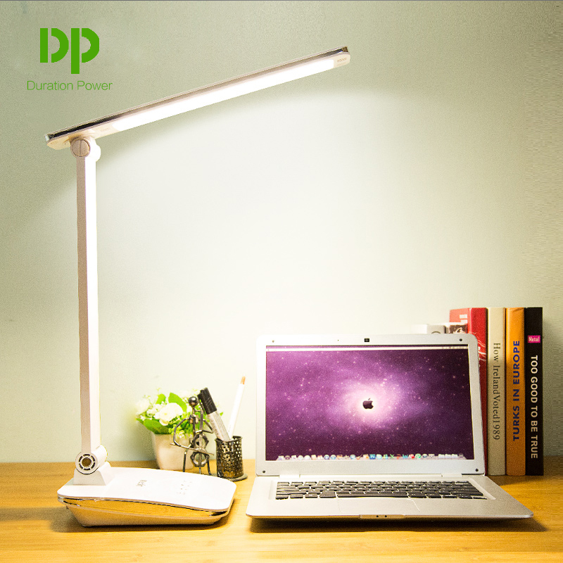Duration Power White Foldable Desk Lamps 48 LED Rechargeable Table Lamps Office Reading Touch Dimmer Lamps
