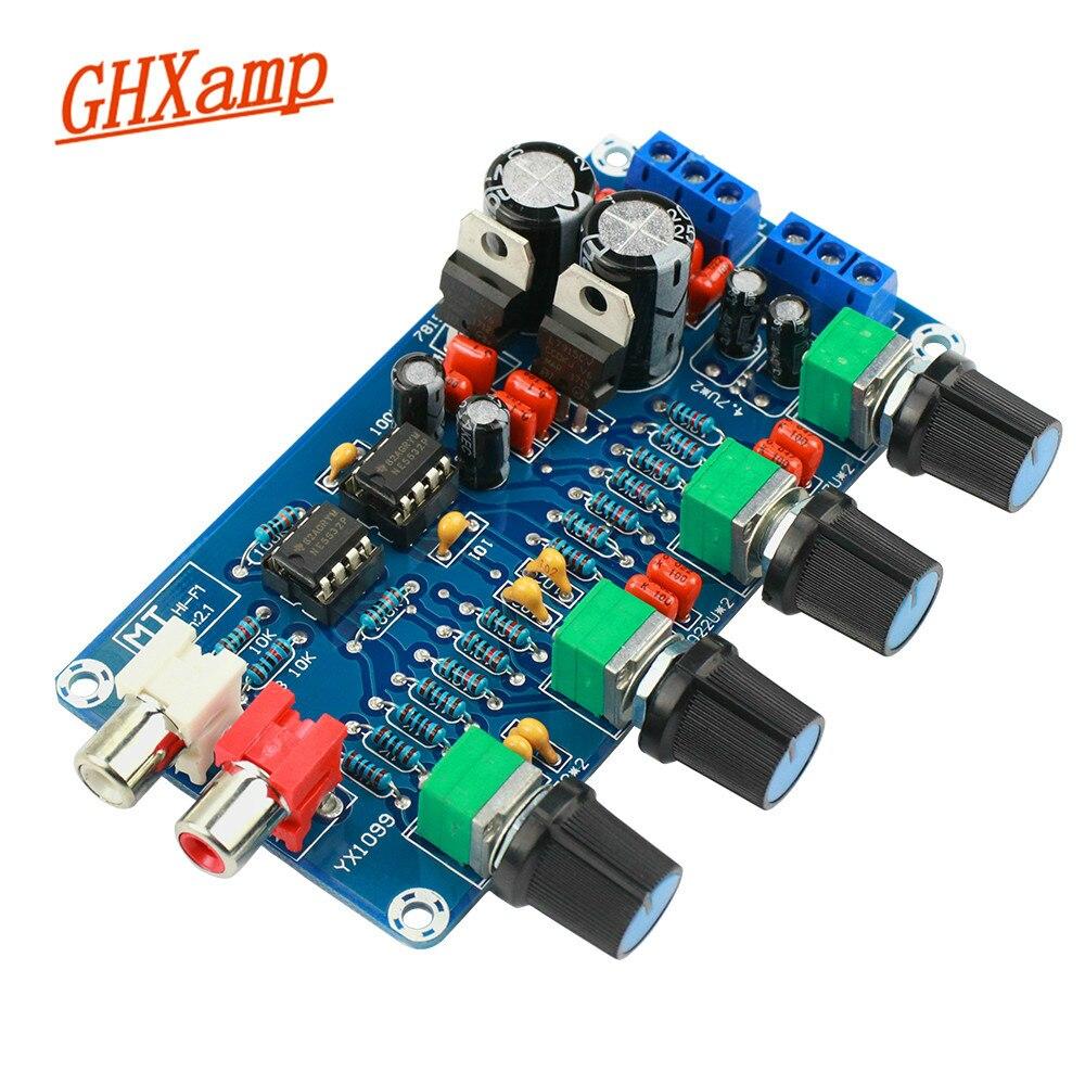 Atualizado Amplificador NE5532 Volume tone controle Preamp Preamplifier Terminado Board Midrange Agudos Bass EQ DIY Dupla AC 12 V- 18V
