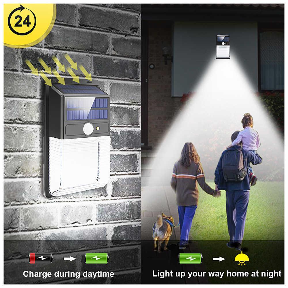 PIR СВЕТОДИОДНЫЙ ночник с датчиком движения беспроводной настенный светильник наружная Водонепроницаемая двойная солнечная панель уличная лампа для сада супер яркая