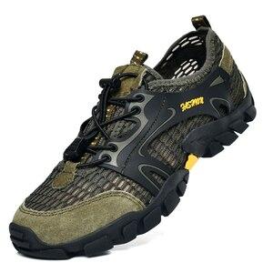Image 4 - גברים נעלי הליכה עמיד למים נעלי גברים הרי טיפוס טרקים נעליים