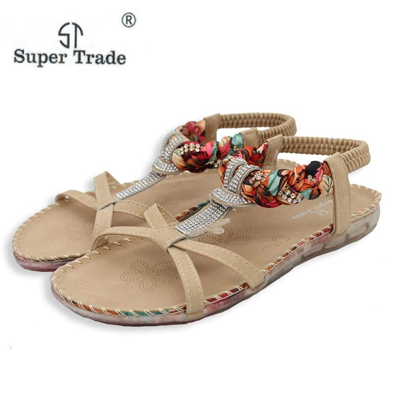 Free Shipping 2016 New Folk Style Sandals Bohemia Diamond Shoes Beach Shoes Women Shoes Women Sandals