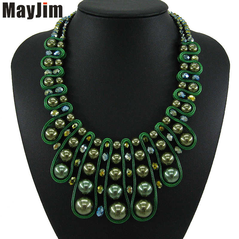 Statement pearl necklace fashion women 2018 brand collar bead chunky female chain crystal necklaces & pendants vintage Jewelry