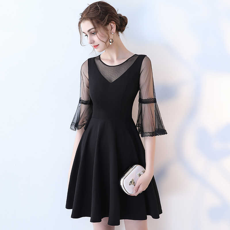 c8fd6cfaa6e ... Simple Sexy Black Cocktail Dress SSYFashion V-neck Horn Sleeve Party  Formal Dress Custom Homecoming