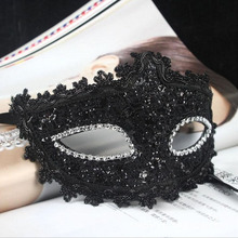 ANGRLY Exquisite Venetian Style Lace Crystal Rhinestones Cosplay Mask for Halloween /Masquerade /Costume Party Gifts (Black)
