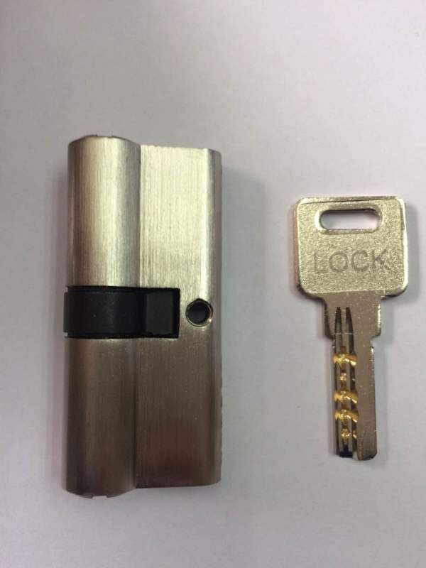 Brass door lock cylinder single key 70mm satin nickle one cylinder one key hiluke 70mm brass lock cylinder 5pics brass key with two line and button europe standard safe door lock core single open