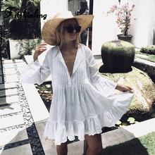 Fitshinling Pleated autumn beach dress female 2018 bohemian flare sleeve pareos sexy hot ruffles whte short dresses for women