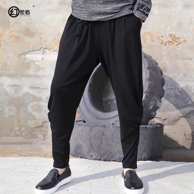 Departamento de calças virilha harem pants homens verão lazer código grande arte dos homens calças soltas calças compridas