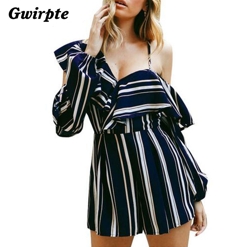 Women's Clothing Gwirpte Cold Shoulder V Neck Sexy Women Jumpsuit Romper Stripe Backless Chiffon Romper Ruffle Long Sleeve High Waist Playsuit
