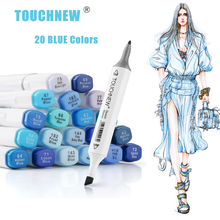 TOUCHNEW Marker Pen 20 Blue Colors Art Markers Double Head Sketch Pens Alcohol Based Ink Art Supplies Alcohol Markers Stationery sta double head marker pen 12 24 36 48 60 80colors 1 4mm alcohol based ink non toxic art markers for student and designer