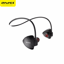 AWEI A847BL Bluetooth Earphone Waterproof Wireless Ear Hooks Neckband Sports Earbuds with Microphone Noise Cancelling