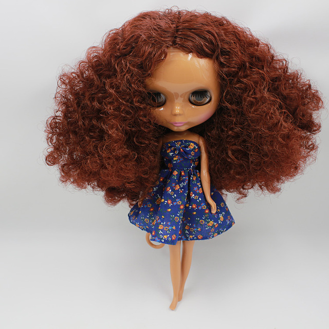 12 Nude Blythe Doll from Factory black short curly hair