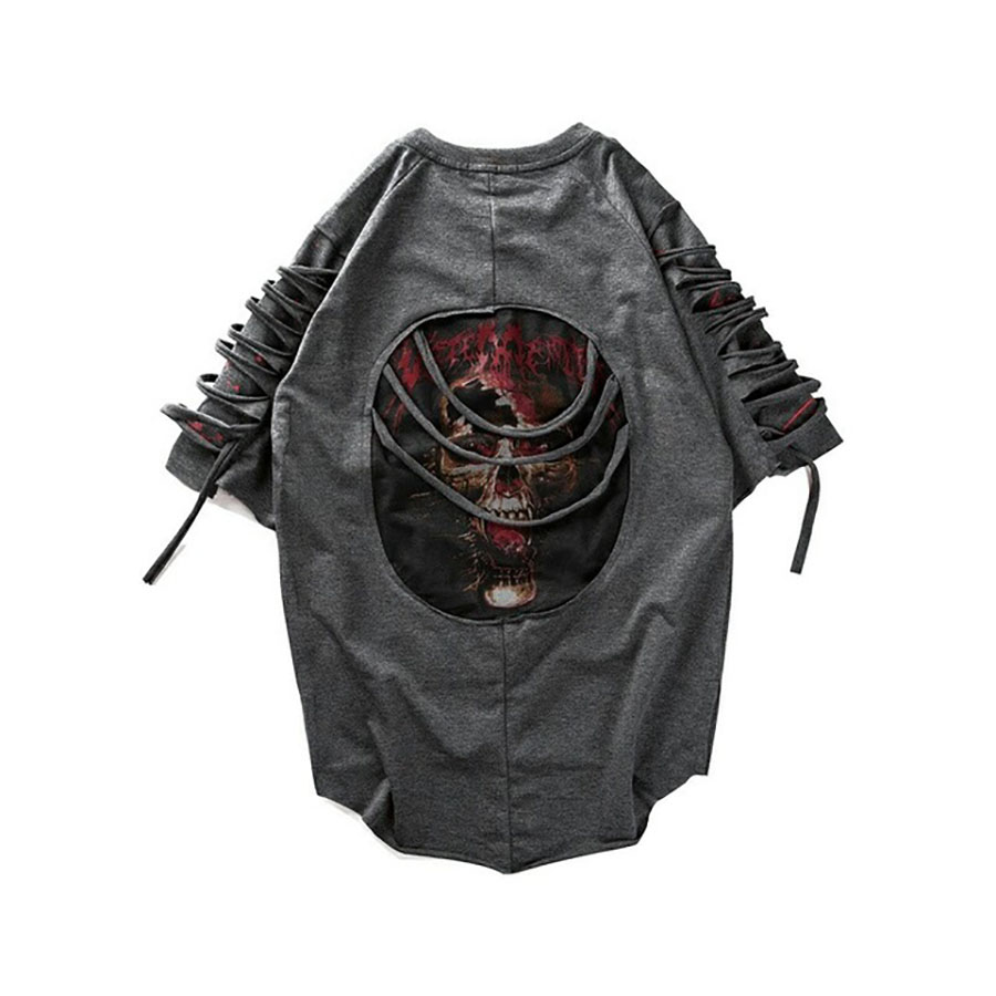 Ripped t Shirts Men Punk Rock Rave t Shirt Psychedelic Hiphop Street Camisa Swag Rasgados Vintage Rap Mens Clothing  Baggy DX533 Сумка