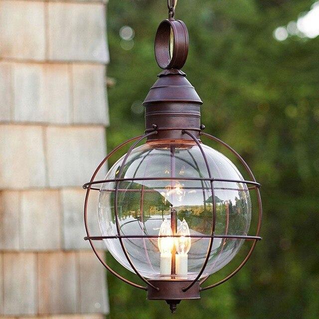 Iron Industrial Loft Outdoor Pendant Lamp Globe