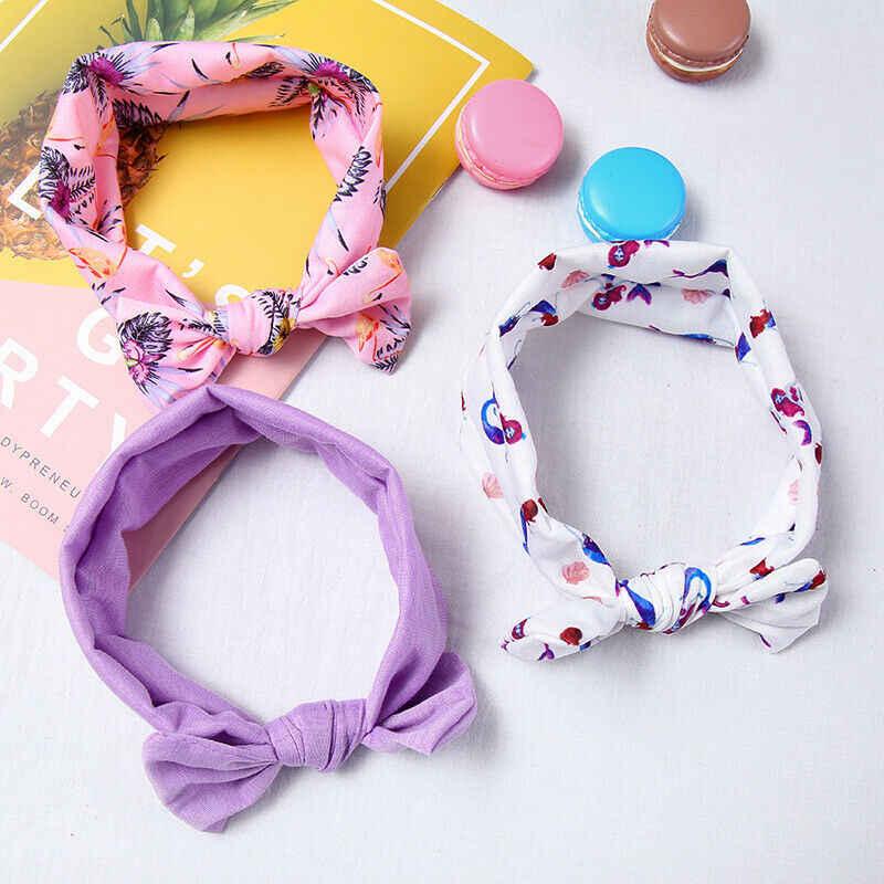 Для девочек на подкладке из хлопка для малышей ободок для волос с бантом, головная повязка сладкий Тюрбан повязка-Узелок на голову, комплект из 3 предметов